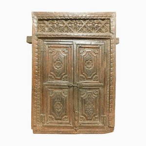 Antique Wall Cabinet Placard in Dark Hand-Carved Wood, India, 1800s