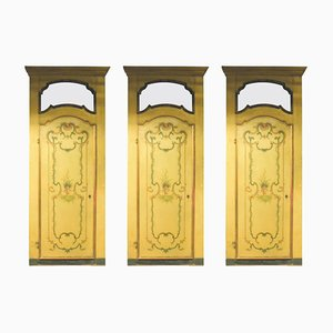 Antique Handmade Yellow and Gold Lacquered Doors, Set of 3