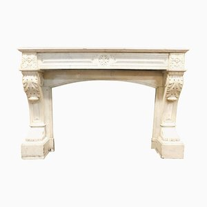 Antique Louis XVI Fireplace in White Carrara Marble with Lion's Paws, Italy, 1700s