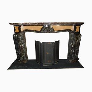 Art Deco Fireplace in Inlaid Red and Yellow Marble, Italy, 1920s
