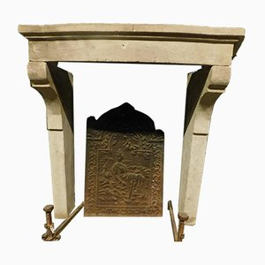 Antique Gray Stone Fireplace Mantel with Wavy Legs, Italy, 1700s