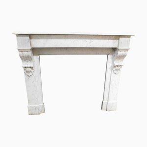 Antique White Carrara Marble Mantel Fireplace, Italy, 1800s