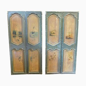 Antique Double Green & Yellow Lacquered Doors with Painted Landscapes, Italy, 1700s, Set of 2