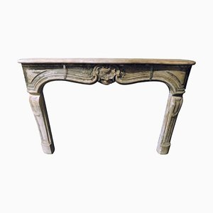 Antique Fireplace Mantel in Gray Borgogna Stone, France, 1700s