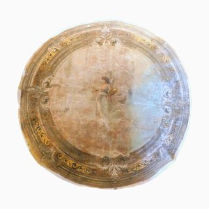 Antique Round Ceiling Paper on Canvas with Hand-Painted Sky and Maid, Italy, 1800s