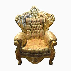 Antique Italian Gilded Wooden Rich Armchair with Damask Fabric