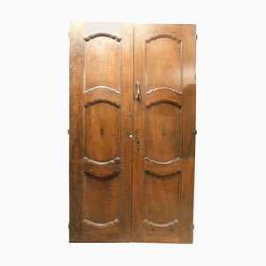 Antique Entrance Double Door in Brown Walnut with a Baroque Feel, Italy, 1700s