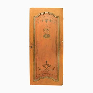 Antique Lacquered and Orange Painted Wooden Door, Italy, 1700s