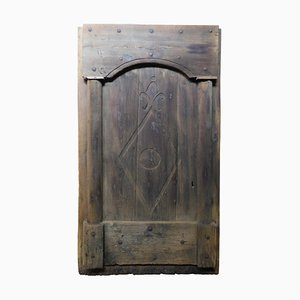 Antique Rustic Entrance Door in Hand-Carved Dark Brown Chestnut, Italy, 1800s