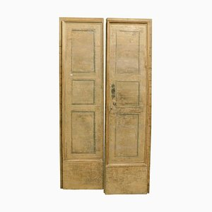 Antique Italian Hand-Lacquered Beige Double Wing Doors, Set of 4