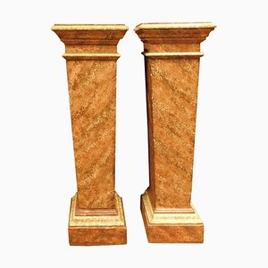 Columns in Orange Lacquered Imitation Marble, Italy, 1800s, Set of 2