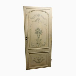 Antique Hand-Painted Cream Lacquered Wooden Door, Italy, 1700s