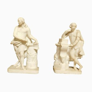 White Carrara Marble Statues, Italy, 1700s, Set of 2