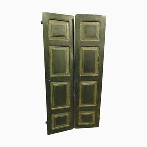 Antique Hand-Painted Green Wooden Double Door with 8 Panels, Italy, 1700s