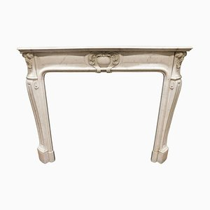 Antique Fireplace Mantel in White Carrara Marble, Italy, 1800s