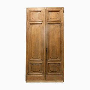 Antique Italian Double Wing Entrance Door in Walnut