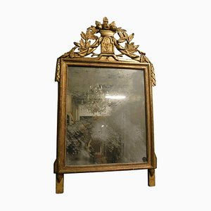 18th Century Italian Louis XVI Style Lacquered and Hand-Gilded Mirror