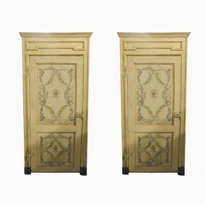 Antique Italian Yellow Beige Lacquered Wood Doors, 1700s, Set of 2