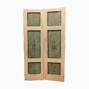 Antique Italian Double Doors in White and Blue Lacquered Wood, 1700s