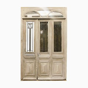 19th Century Italian Oak Shop Door Lacquered in White Wood with Glass