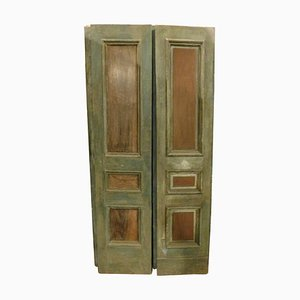 Antique Italian Wooden Double Door in Green Lacquered Molure, 1800s