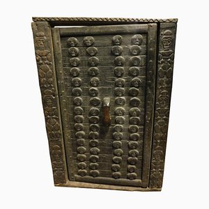 Antique Dark Brown Wood African of the Dragon Door with Frame Carved