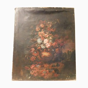 Antique Italian Painting on Canvas Floral on a Black Background, 1800s