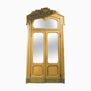 Antique Wood Lacquered Gold Green Door with Glass and Frame, Milan, 1800s