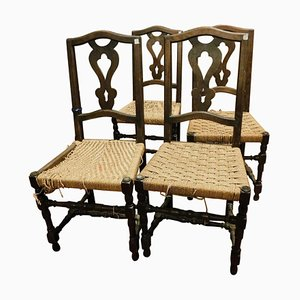 Antique Italian Brown Walnut Chairs with Woven Straw Seat, 1700s, Set of 6