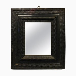 16th Century Mirror with Black Lacquered Frame, 1500s