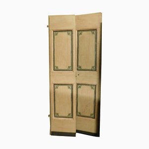 Antique Lacquered Double Door in Beige with Green Decorations, Set of 2