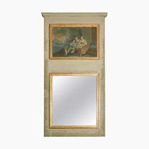 Antique Italian Lacquered Wood Mirror with Painting, 1800s