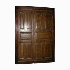 Antique Door in Brown Oak with Double Wing, Frame & Saloon Opening Push and Pull, 1700s