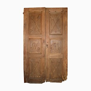 Antique Italian Walnut Entrance Double Door, 1800s