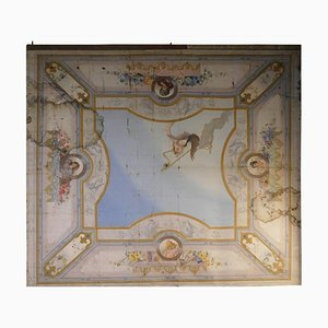 19th Century Antique Ceiling Painted Paper on Canvas