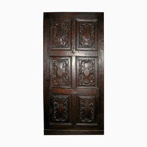 Antique Italian Entrance Door in Hand Carved Walnut Brown, 1600s
