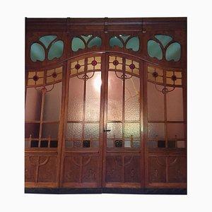 Liberty Glass Door with Oak Frame, 1920s