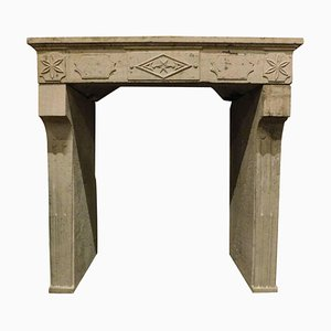 Antique French Fireplace Mantel in Grey Stone with Decorations, 1700s