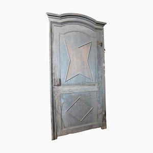 Antique Blue Lacquered Door with Frame and Star Decoration, Italy, 1700s