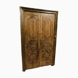 18th Century Italian Chestnut Wood Door with Original Frame