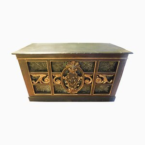 Antique Counter Top Table in Lacquered Gilded Wood & Faux Green Marble, 1800s
