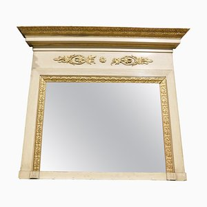 Antique Italian Lacquered and Gilded Fireplace Mirror with Friezes and Hat, 1800s