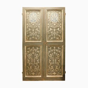 18th Century Italian Painted Double Door in Grey and Blue Baroque Motifs