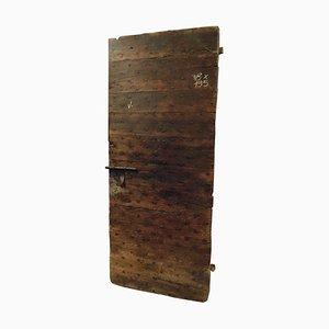 18th Century Italian Wooden Door in Brown Rustic Walnut and Nails