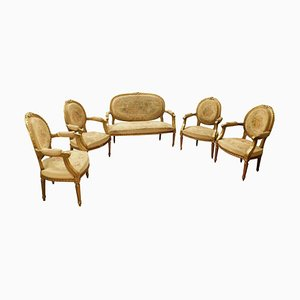 19th Century French Gilded Wood Sofa & Armchairs Set