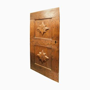 Antique Italian Door in Red Larch Wood and Carved Star, 1800s