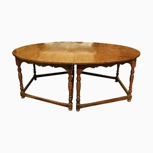 Antique Italian Oval Table in Beechwood Divisible 2 Half-Moons with 8 Legs, 1600s