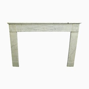 Antique French Fireplace Mantle in White Marble, 1800s