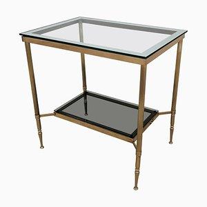 Italian Modern Regency Style Brass and Mirror Glass 2-Tier Table, 1980s