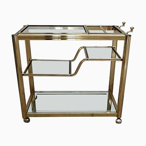 2-Tier Brass Bar Cart with Mirrored Frame Glasses, Italy, 1970s